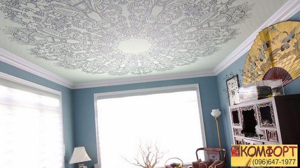 Натяжные потолки комбинированные